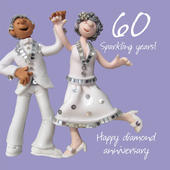 Happy 60th Diamond Anniversary Greeting Card One Lump or Two