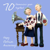Happy 70th Platinum Anniversary Greeting Card One Lump or Two