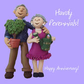 Hardy Perennials Happy Anniversary Greeting Card One Lump or Two