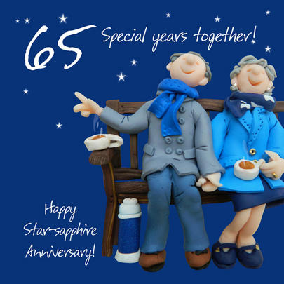 Happy 65th Star Sapphire Anniversary Greeting Card One Lump or Two