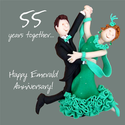 Happy 55th Emerald Anniversary Greeting Card One Lump or Two
