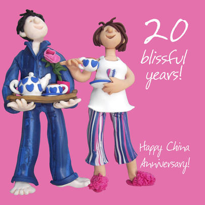 Happy 20th China Anniversary Greeting Card One Lump or Two