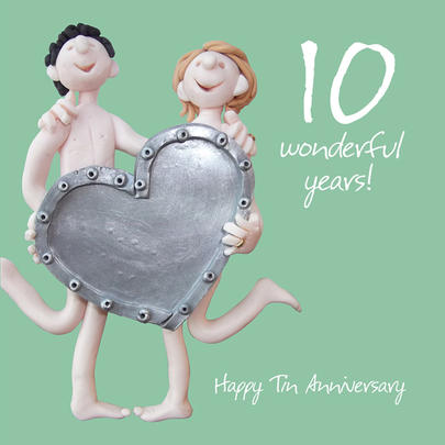 Happy 10th Tin Anniversary Greeting Card One Lump or Two