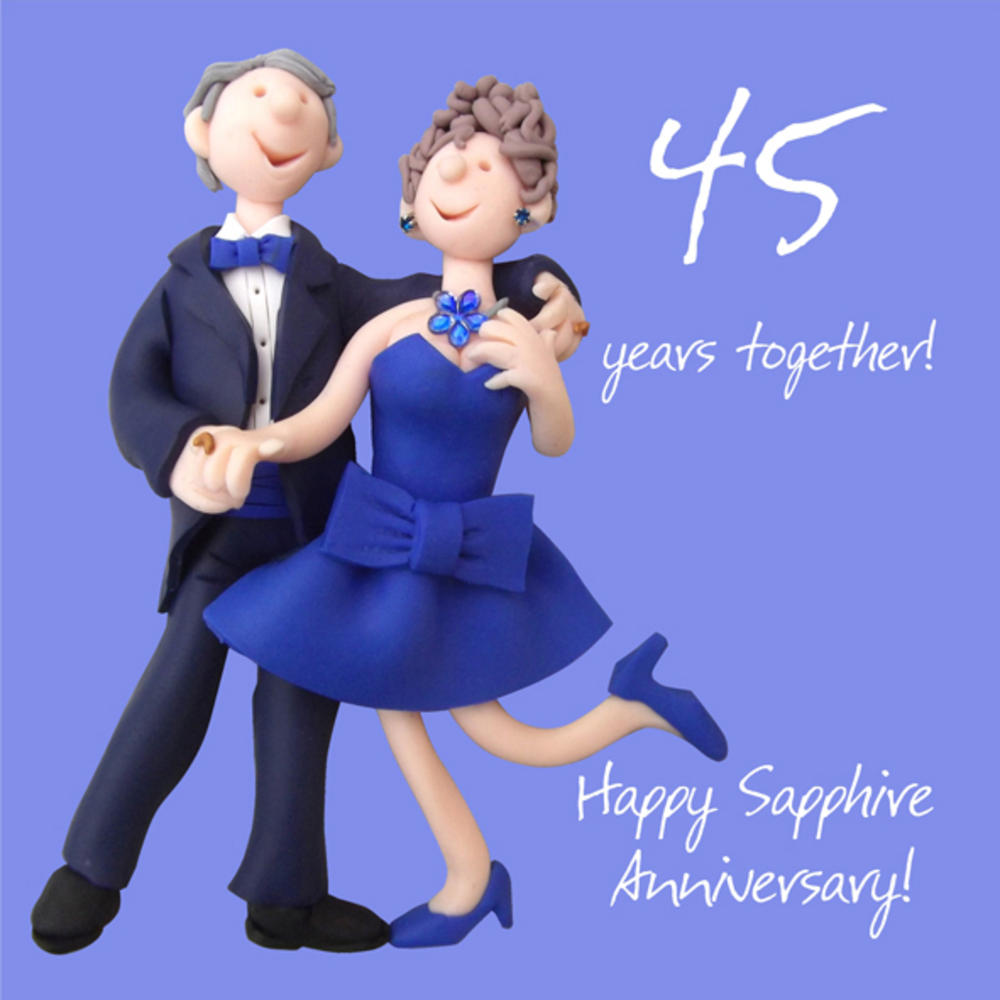 Happy 45th Sapphire Anniversary Greeting Card One Lump or Two