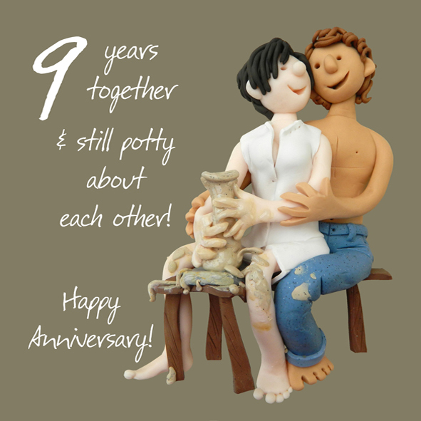 9th Year Wedding Anniversary Gifts: Happy 9th Pottery Anniversary Greeting Card One Lump Or