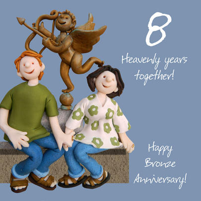 Happy 8th Bronze Anniversary Greeting Card One Lump or Two
