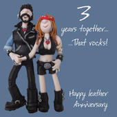 Happy 3rd Leather Anniversary Greeting Card One Lump or Two
