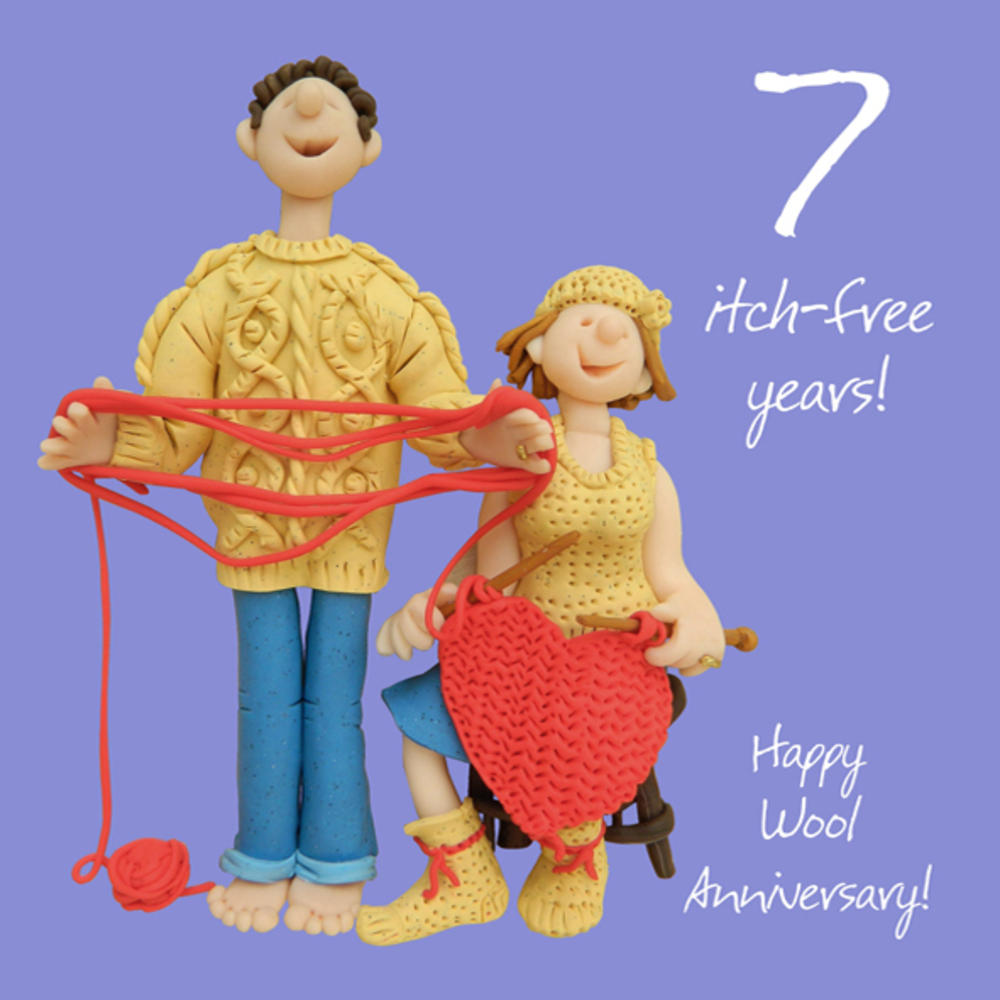 Happy 7th Wool Anniversary Greeting Card One Lump or Two