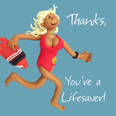 Thanks You're A Lifesaver Thank You Greeting Card One Lump or Two Holy Mackerel