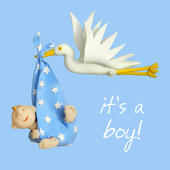 It's A Boy New Baby Boy Greeting Card One Lump or Two