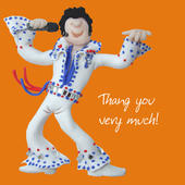 Thang You Very Much Elvis Thank You Greeting Card One Lump or Two