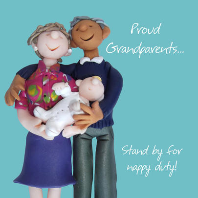 Proud Grandparents New Baby Greeting Card One Lump or Two