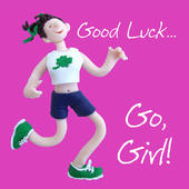 Good Luck Go Girl Greeting Card One Lump or Two
