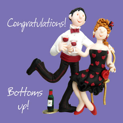 Congratulations Bottoms Up Greeting Card One Lump or Two