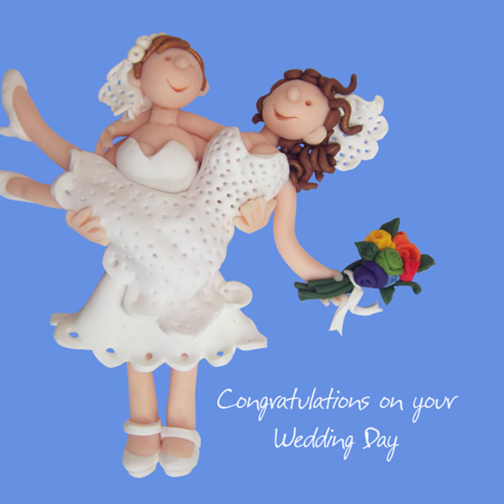 Female Couple Wedding Greeting Card One Lump or Two