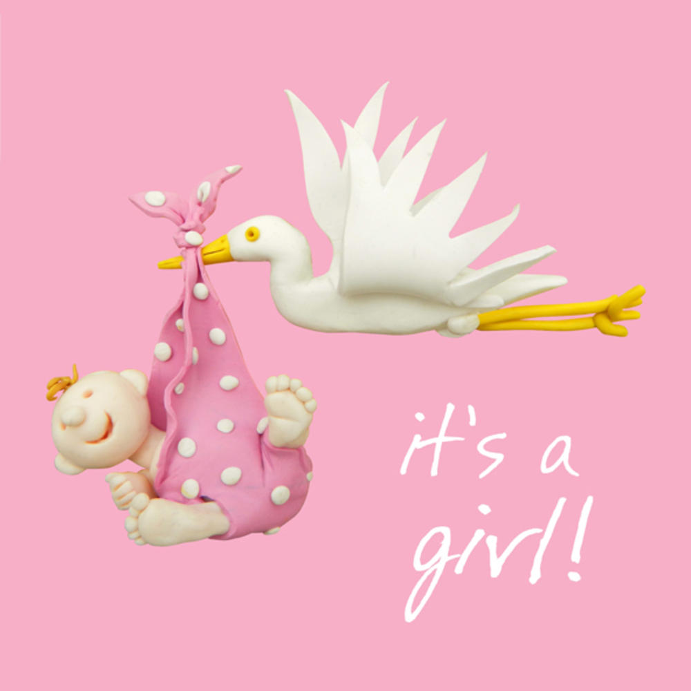 Its A Girl New Baby Girl Greeting Card One Lump Or Two Cards
