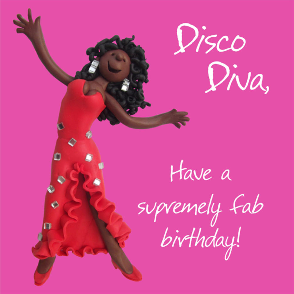 Disco Diva Happy Birthday Card One Lump or Two