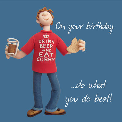 Beer & Curry Happy Birthday Card One Lump or Two