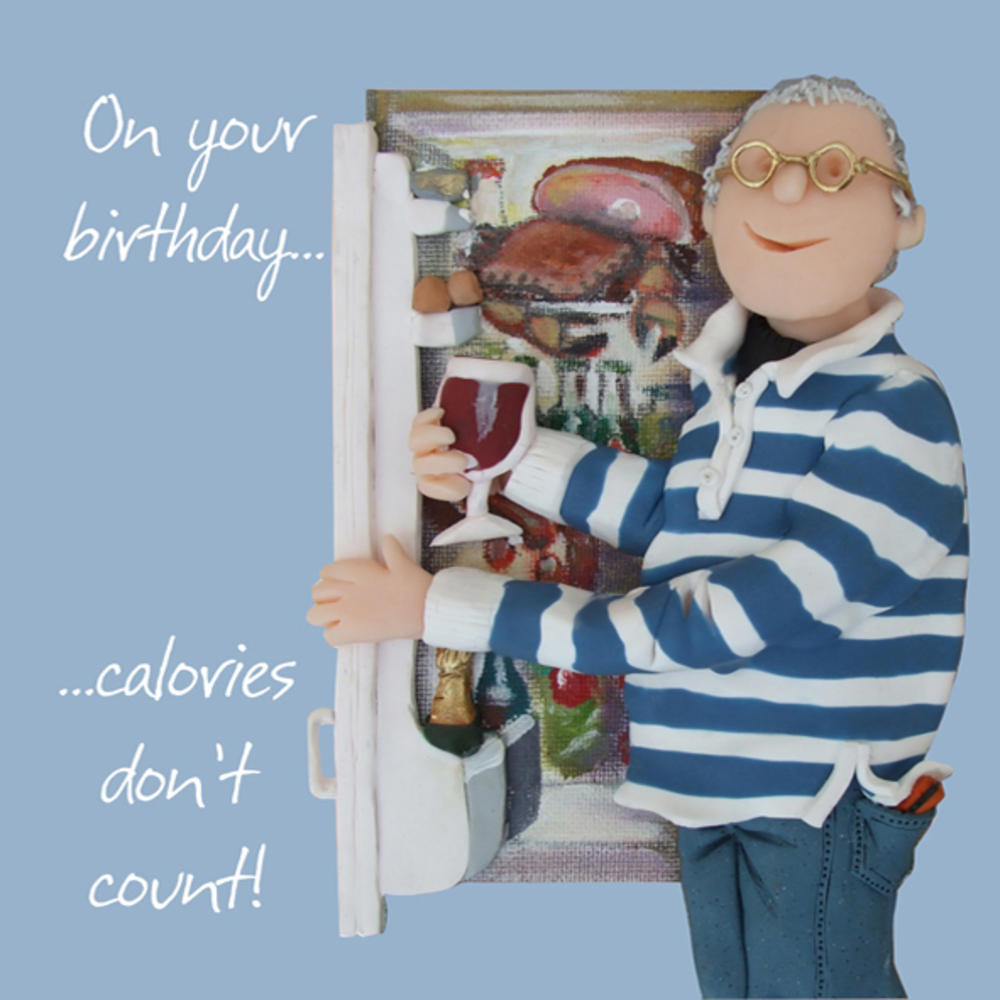 Calories Don't Count Happy Birthday Card One Lump or Two