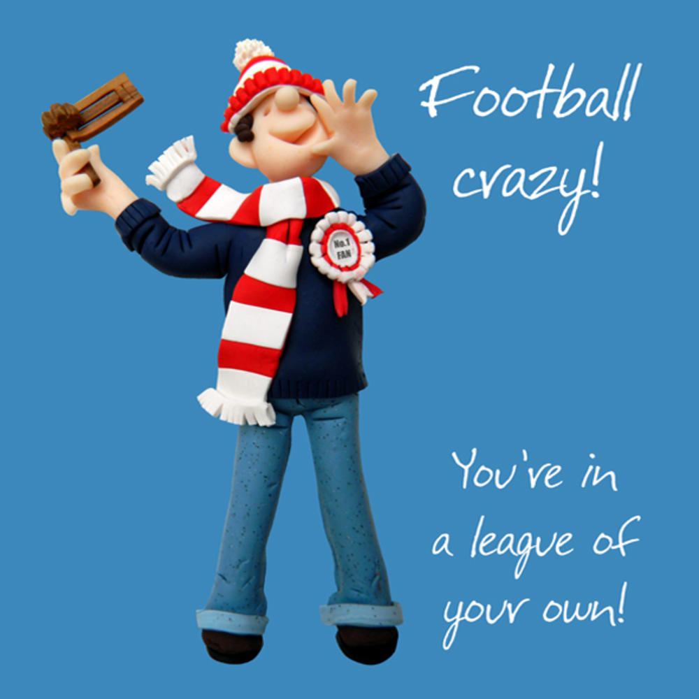Football Crazy Happy Birthday Card One Lump or Two
