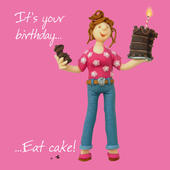 Eat Cake Happy Birthday Card One Lump or Two