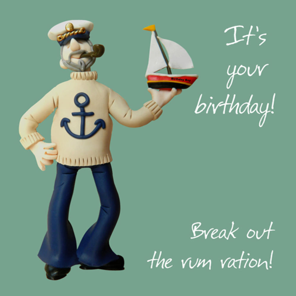 Rum Ration Happy Birthday Card One Lump or Two