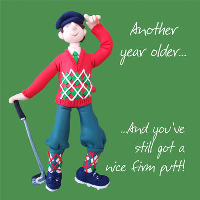 Nice Putt Happy Birthday Card One Lump or Two