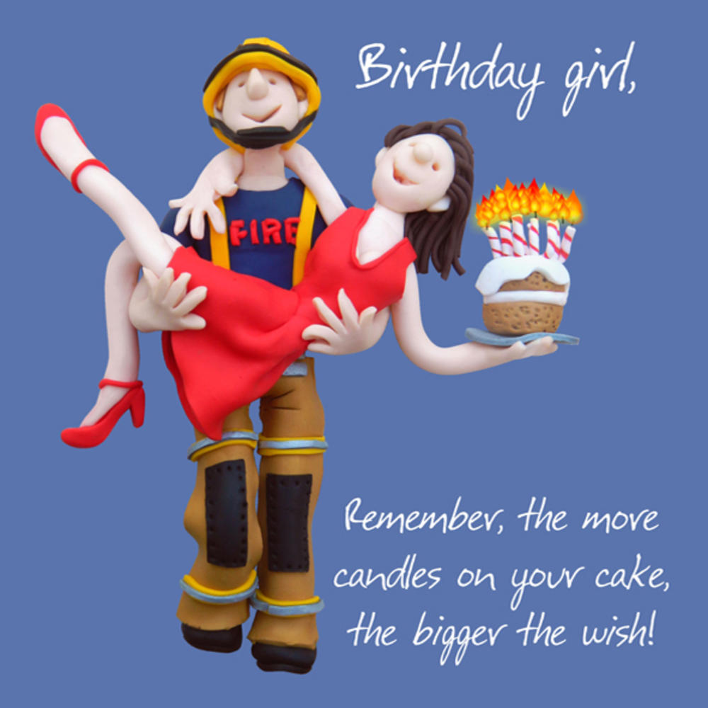Firemans Lift Happy Birthday Card One Lump or Two