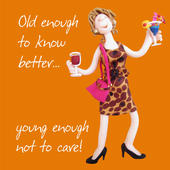 Old Enough To Know Better Birthday Card One Lump or Two