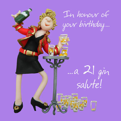 21 Gin Salute Happy Birthday Card One Lump or Two