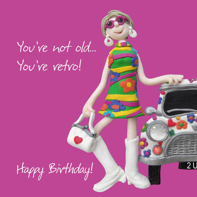 Retro Not Old Happy Birthday Card One Lump or Two