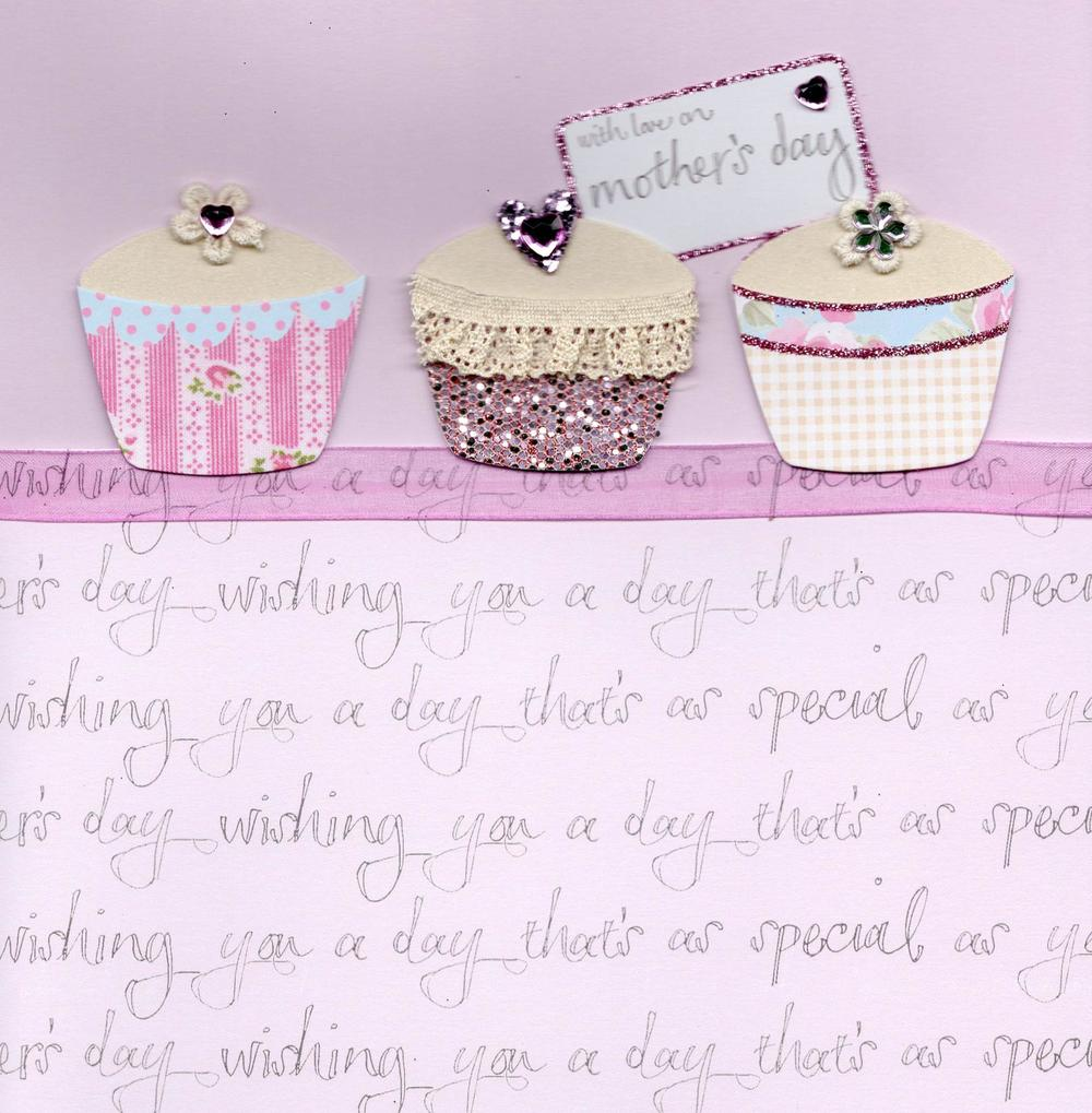 "With Love 8"" Square Cupcakes Mother's Day Card"