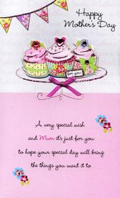 Luxury Cupcakes Hand-Finished Happy Mother's Day Card