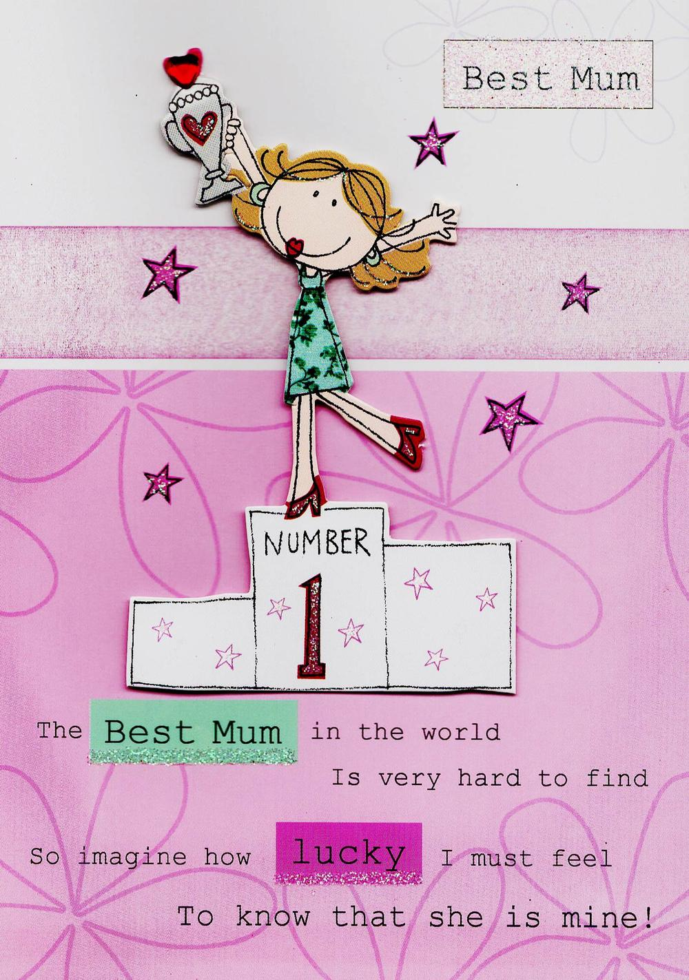 No. 1 Best Mum Hand-Finished Mother's Day Card