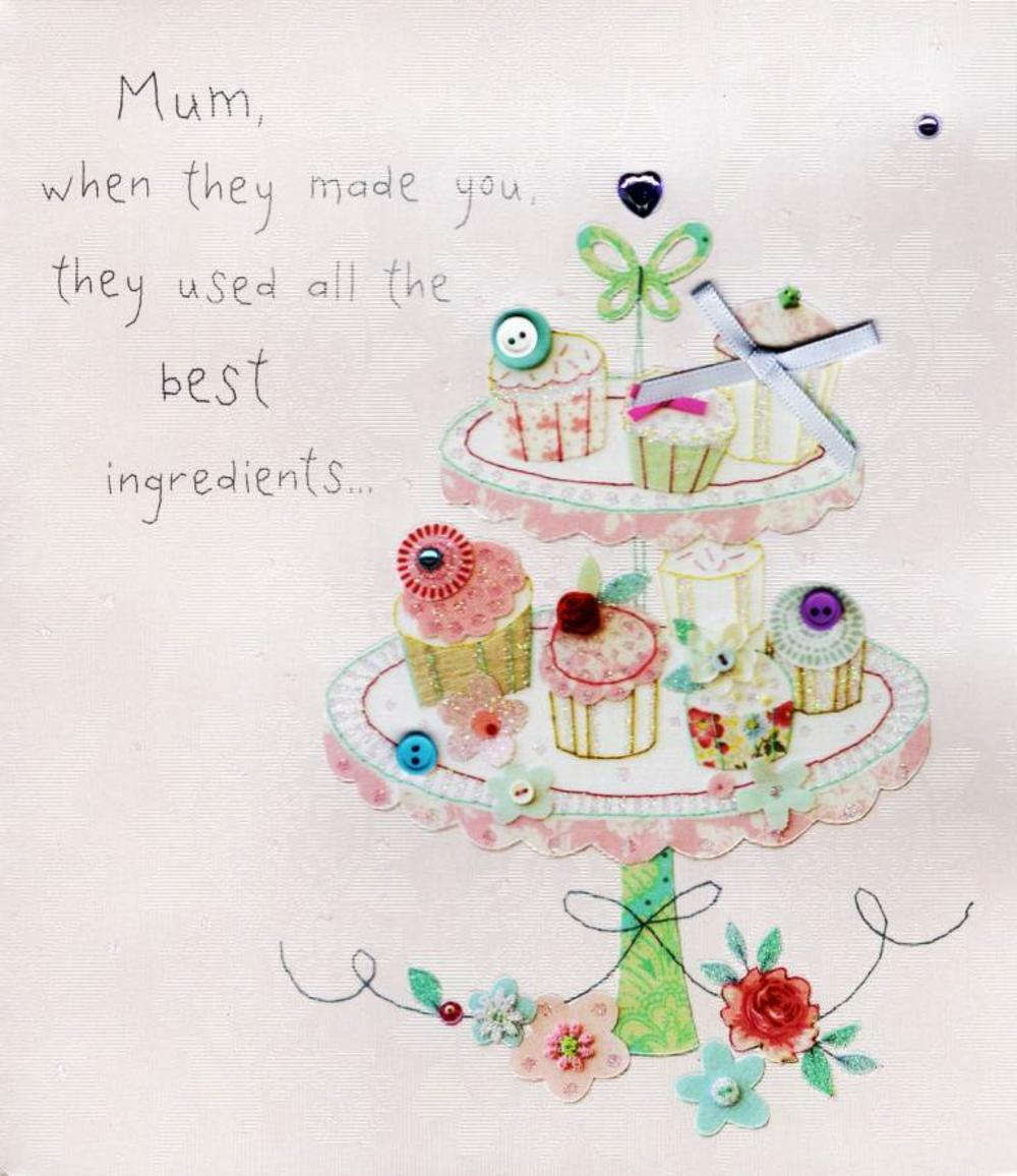 Best Mum Recipe Mother's Day Button Box Greeting Card