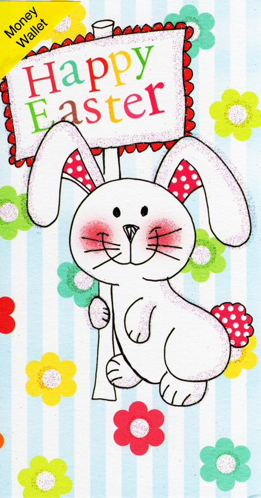 Happy Easter Money Wallet Cute Bunny Glittered Finish Gift Card Greeting Cards