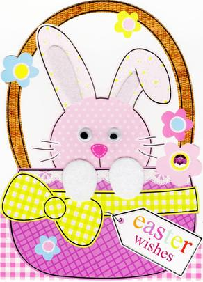 Cute Bunny Shaped Easter Greeting Card