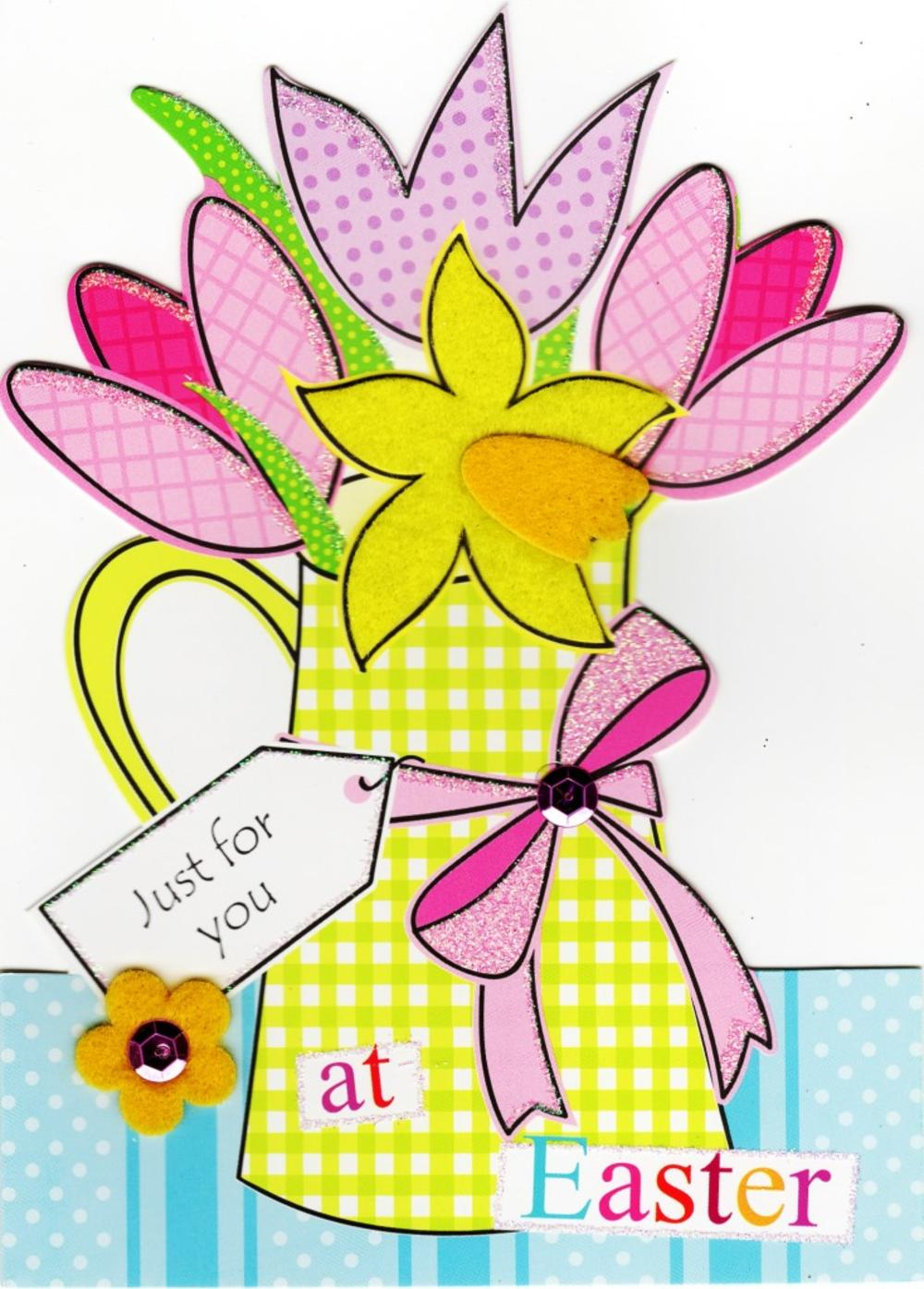 Flower Shaped Happy Easter Greeting Card
