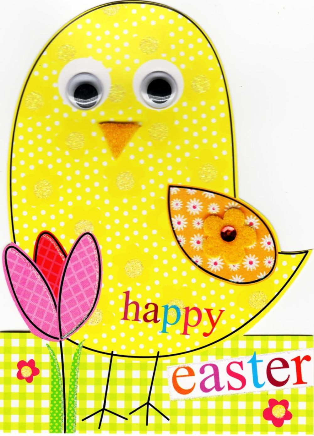 Cute Chick Shaped Easter Greeting Card