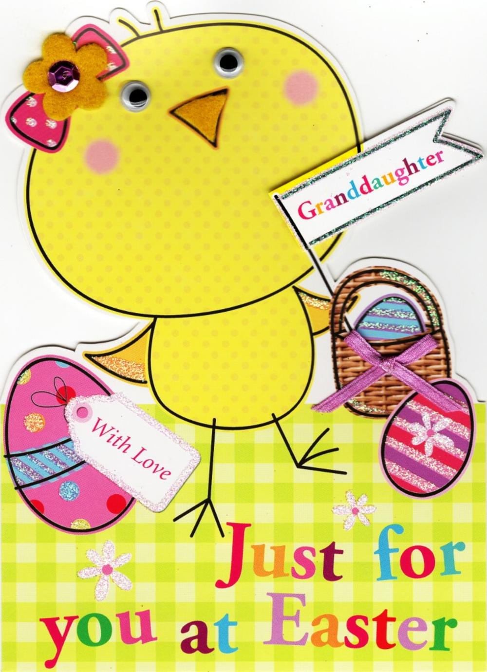 Granddaughter Cute Chick Shaped Easter Greeting Card