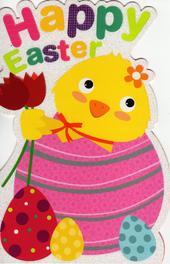 Cute Easter Chick Shaped Happy Easter Greeting Card
