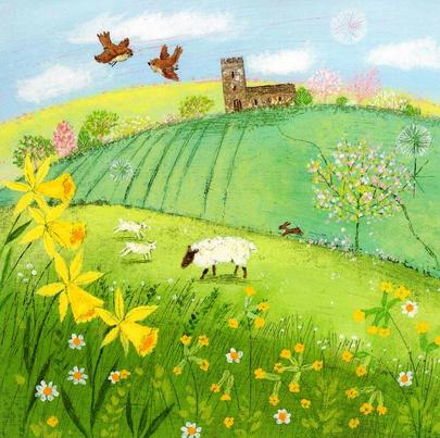 Happy Easter Traditional Spring Art Greeting Card