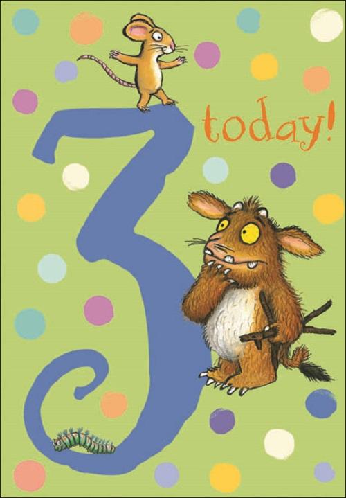 Gruffalo 3 Today 3rd Birthday Greeting Card Cards Love Kates