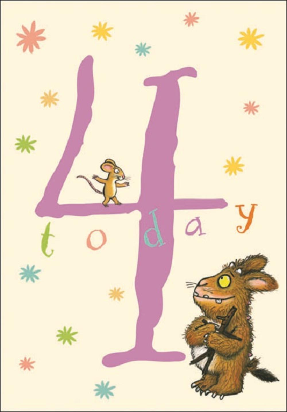 Gruffalo Four Today 4th Birthday Greeting Card
