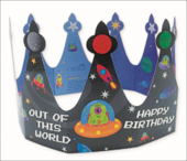 Outer Space Happy Birthday Crown Greeting Card