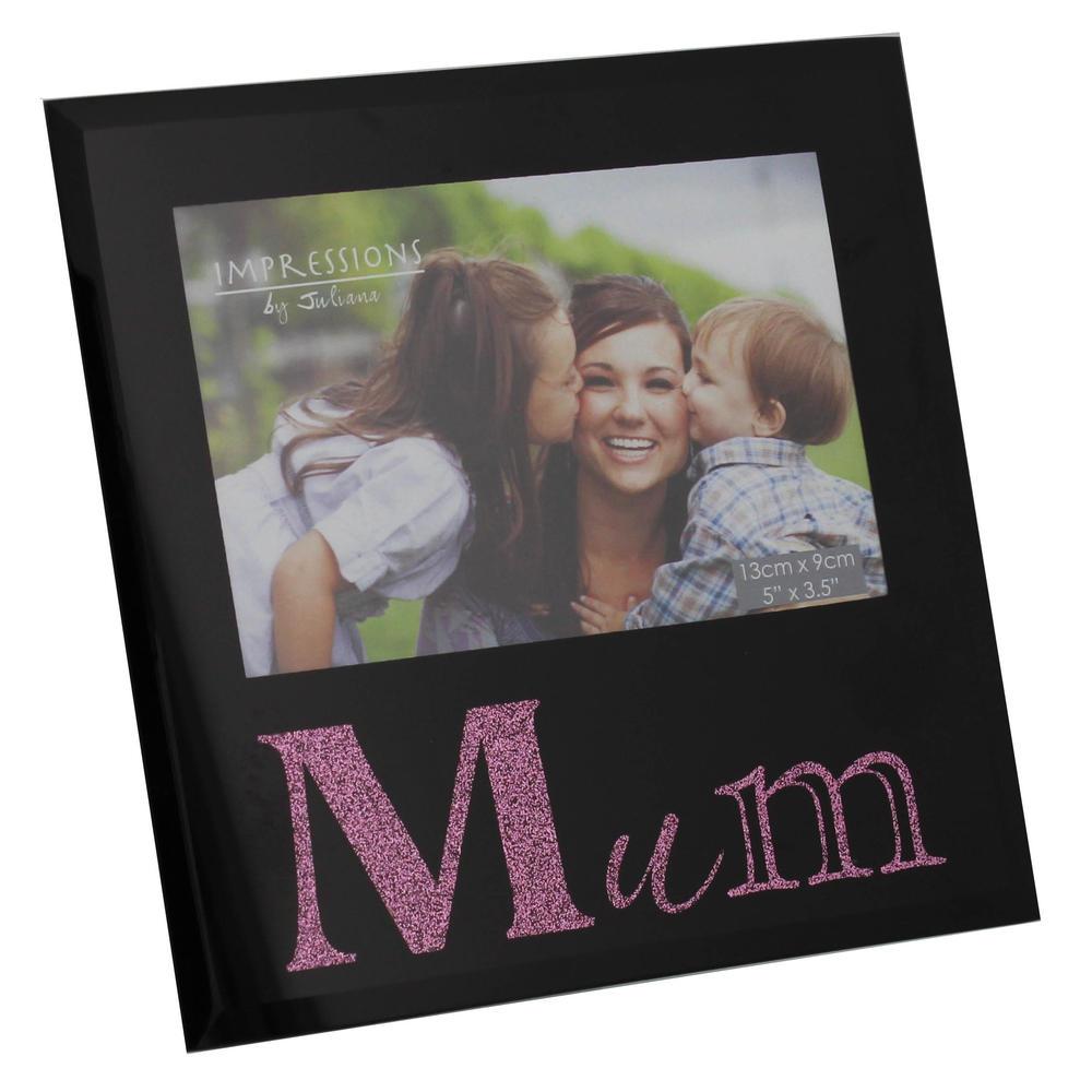 "Mum 5"" x 3.5"" Black Glass Photo Frame By Juliana"