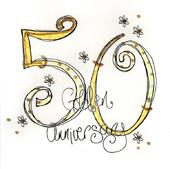 50th Golden Anniversary Greeting Card By Tracey Russell