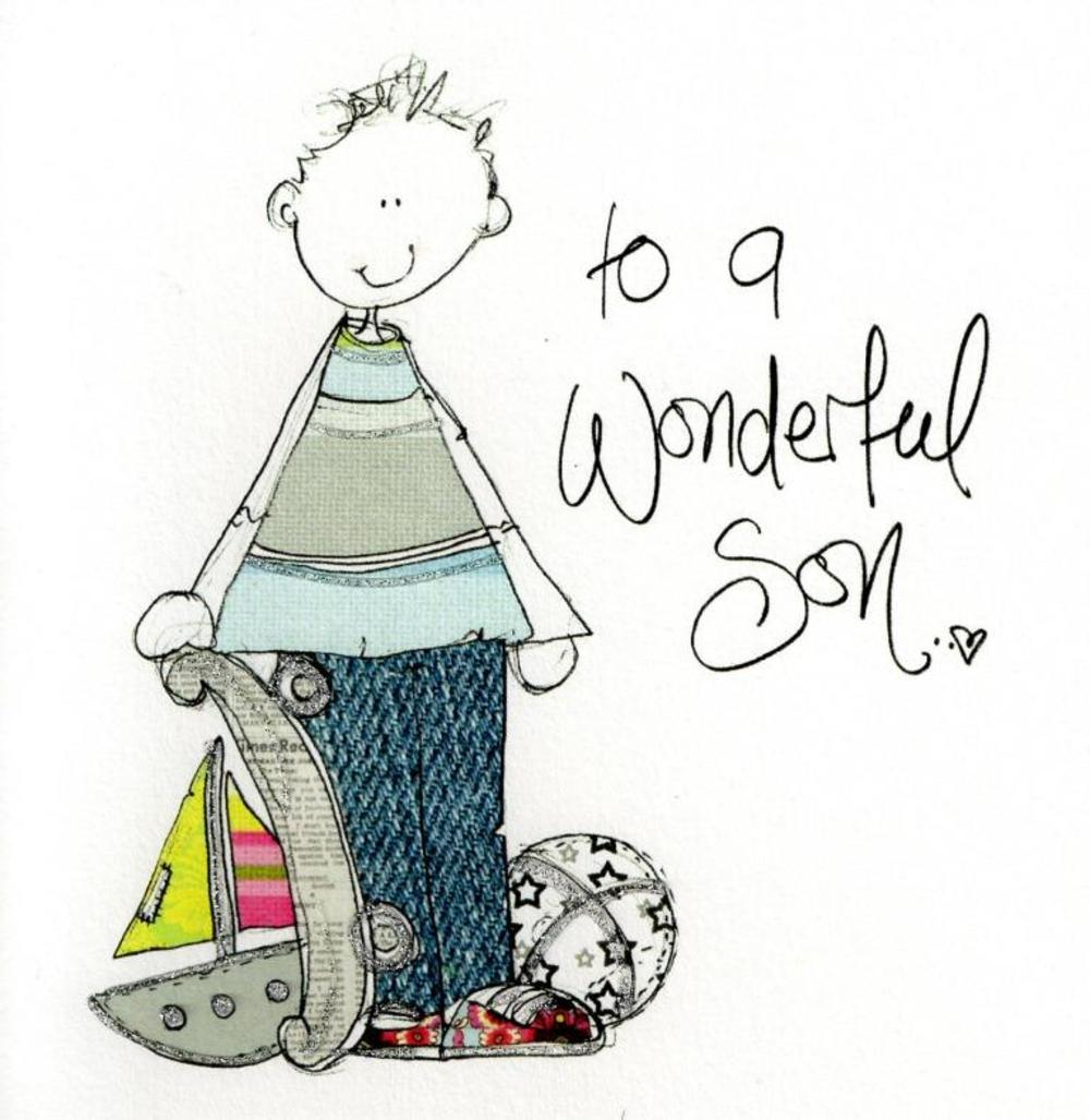 Wonderful Son Birthday Greeting Card By Tracey Russell