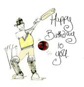 Happy Birthday Cricket Greeting Card By Tracey Russell