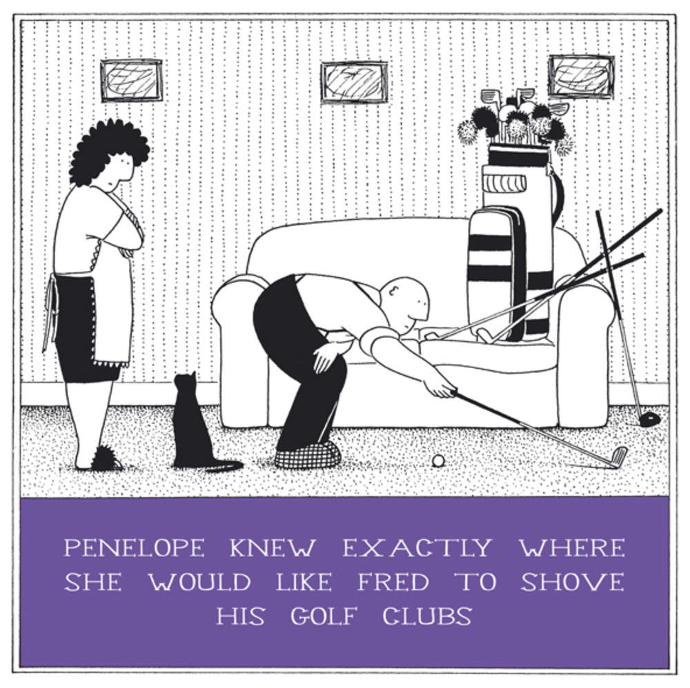 Shove His Golf Clubs Funny Fred Birthday Card